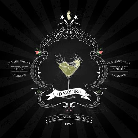Cocktail Daiquiri in vintage stijl gestileerde tekening met krijt op een schoolbord in een reeks van hedendaagse klassiekers