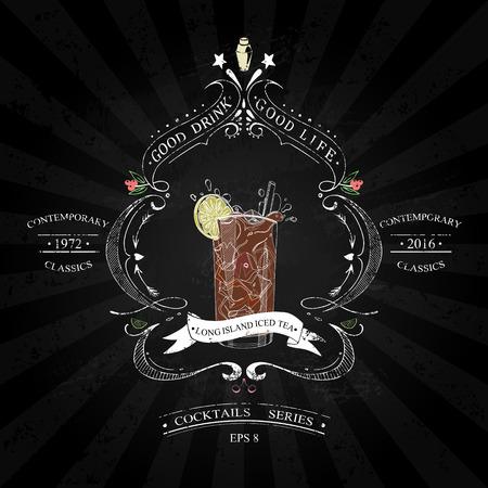 Cocktail Long Island Iced Tea in vintage stijl gestileerde tekening met krijt op een schoolbord in een reeks van hedendaagse klassiekers Stock Illustratie