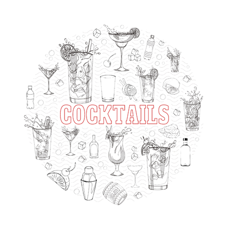 soda splash: concept with different cocktails, elements and ingredients. Illustration