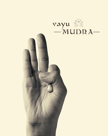 gyan: BW image of woman hand in Vayu mudra. Gesture is  isolated on toned background. Stock Photo