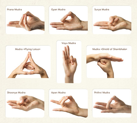set of 9 mudras. It includes such mudras: Prana mudra, Gyan mudra, Apan mudra, Prithvi mudra, Surya mudra, Shoonya mudra, Vayu mudra, Mudra Shield of Shambhala and Mudra Flying lotus. Gestures is  isolated on white background.