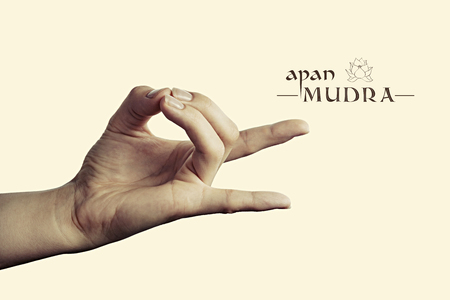 Image of woman hand in apan mudra. Gesture is  isolated on toned background. Standard-Bild
