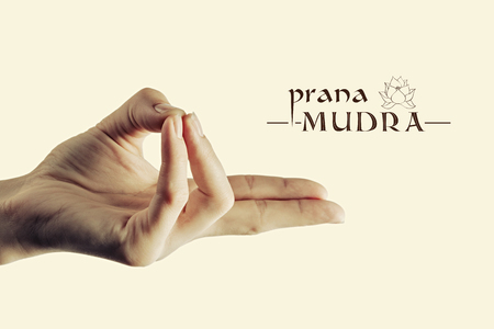prana: Image of woman hand in prana mudra. Gesture is  isolated on toned background.