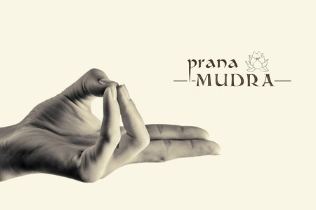prana: BW image of woman hand in prana mudra. Gesture is  isolated on  toned background.