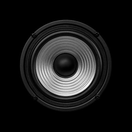 undulating: Frontal image  audio speaker with undulating membrane. Photo black and white, isolated on a black background.