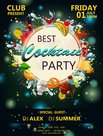 Cocktail party poster with cocktail and flashes of light a dark background vector 10