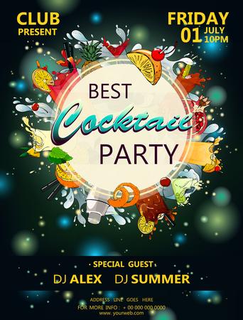 Cocktail party poster met cocktail en flitsen van licht een donkere achtergrond vector 10