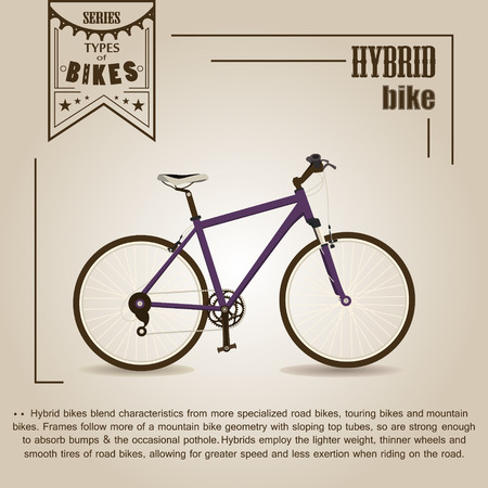 pannier: Vector series types of bikes. Hybrid bike