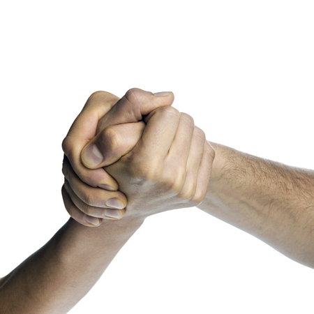 rivals: Struggle between the two rivals (arm wrestling). Image is  isolated on white background.