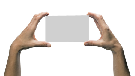 porting: Two hands holding a gray, rectangular object. This  image is isolated on white  background  for ease of porting to your design.