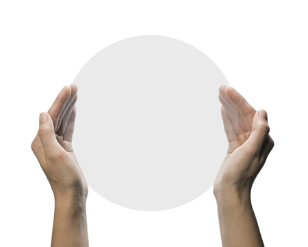 porting: Two hands hold gray, translucent,  round  object. This  image is isolated on white  background  for ease of porting to your design.