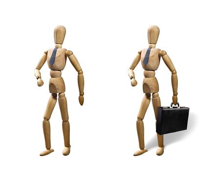 obey: Conjunto de dos marionetas, aisladas sobre fondo blanco. Las marionetas se presentan en el estilo de negocios con una corbata y un maletín.