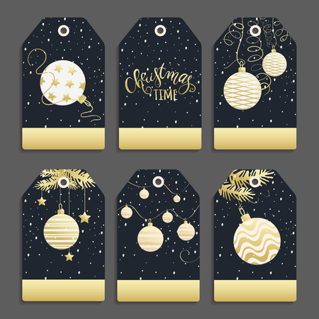 Vector set of templates for Christmas and New Year with Christmas balls. Labels for celebration for your text made in black, white and gold colors .