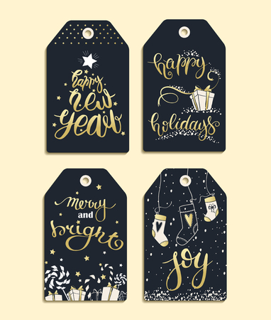 new year celebration: Celebration concept - Vector set of templates for Christmas and New Year. Christmas labels made in black, white and gold colors for your text.