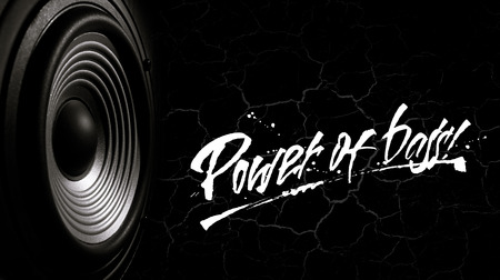 Black and white image of a membrane sound speaker on a black background with cracks. Photos contains handwritten text  Power of bass