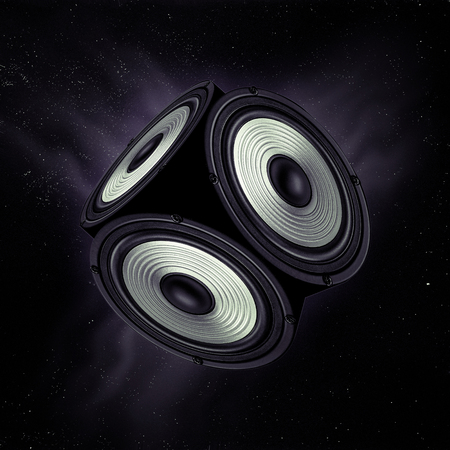 dolby: Concept of surround sound. Object with three audio speakers flying in open space.