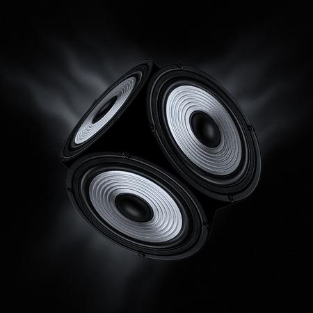 サラウンド サウンドのコンセプトです。黒の背景に 3 つのオーディオ スピーカーを持つオブジェクトします。