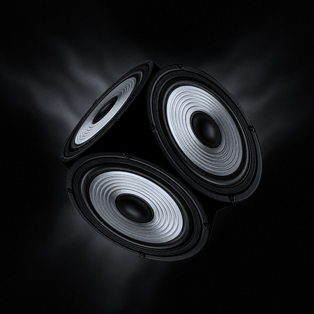 Concept of surround sound. Object with three audio speakers on black background. Фото со стока