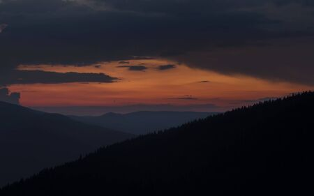 Mountain Landscape. Colorful sunset in the Carpathian mountains. Stock Photo