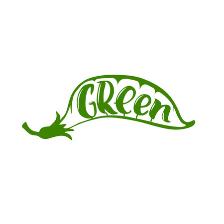 inscribed: Green. Hand drawn organic logo.The word green is inscribed in a pea pod
