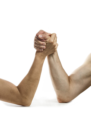 Сoncept of rivalry between two people. Image on white, isolated background.