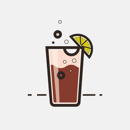 Cocktail Long Island Iced Tea vector concept. Element made in flat style for menu, posters, brochures for cafe, bar or restaurant.