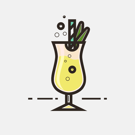 Cocktail Pina Colada vector concept. Element made in flat style for menu, posters, brochures for cafe, bar or restaurant. Illustration
