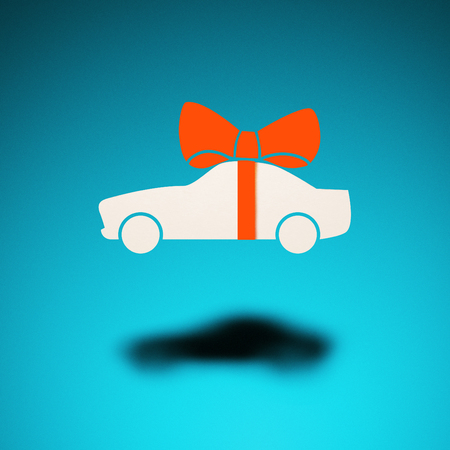 Car as a gift. An icon of a car hovers in the air, casting a shadow on blue background. Above the car is a bow, as a gift symbol.