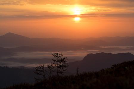 Beautiful mountain landscape. Sunrise over the mountain range.
