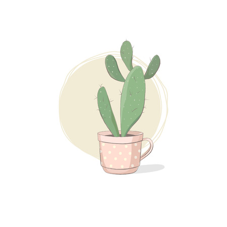 Cute vector illustration of a succulent. Cactus in the pink teacup with polka dots pattern. A funny picture for fans of succulents; for greeting cards; T-shirts; etc.