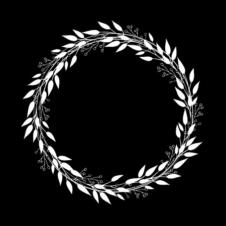 Vector wreath of branches with leaves and berries. Simple minimalist round frame made in white and black. Decor for invitations, greeting cards, posters. Illustration