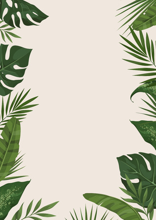 Vector frame with different tropical leaves. Trendy ?oncept of the jungle for the design of invitations, greeting cards and poster 向量圖像