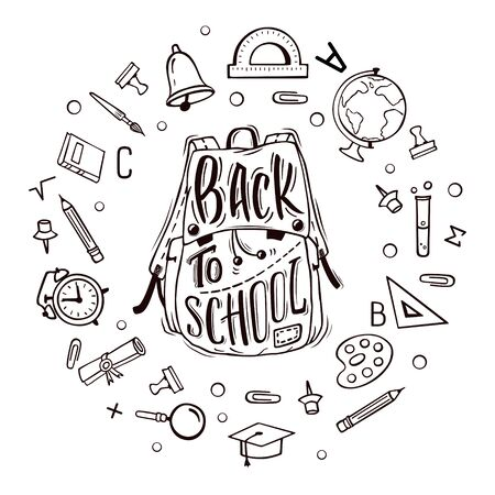 white pushpin: Welcome back to school. School bag surrounded by school supplies with hand-drawn lettering on white background. Vector poster.