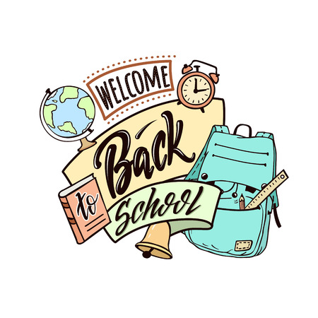 Welcome back to school. Bright  funny vector color poster with lettering and hand drawn doodle elements of school supplies on white background. Illustration