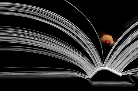 A black and white image of open book. Close-up image of  double-page spread with red pencil on black background. Concept of gaining knowledge, learning, typography