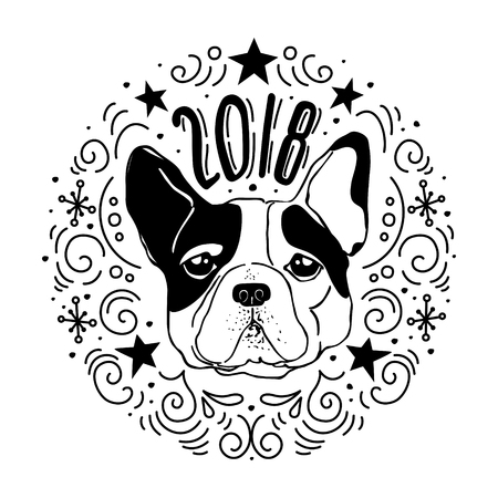 Vector Drawn Poster With French Bulldog And Decorative Design Elements Year Of The Dog