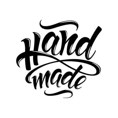 Handmade. Hand-drawn lettering. Stylish black and white logo for your product, shop, etc.