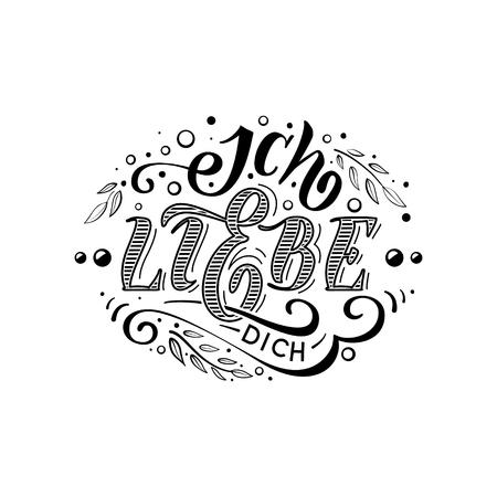 polyglot: Ich liebe dich. Declaration of love in Dutch. Beautiful lettering for greating card, poster, printing on a mug etc.