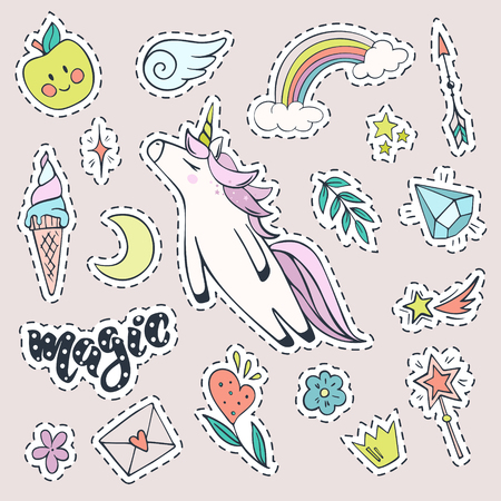 Vector set of magic stickers. Cute unicorn, rainbow,ice cream, shooting star, magic wand, diamond and other fashion patch badges. Stock Photo
