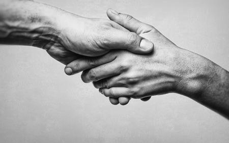 Une poignée de main ferme entre deux partenaires. Image en noir et blanc sur fond blanc. Banque d'images - 96120224