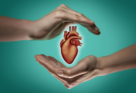 A human heart between two palms of a woman on  blue and green background. The concept of a healthy heart.