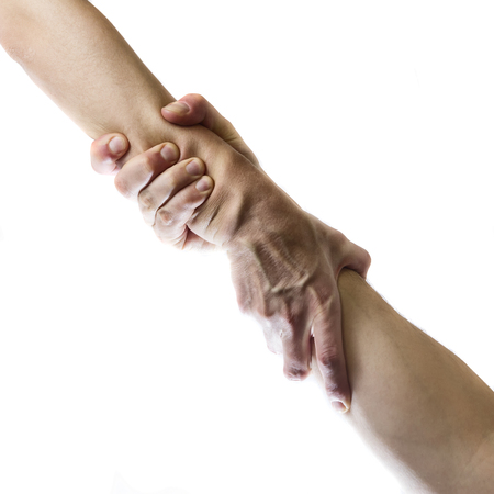 Concept of mutual assistance. Image of two hands on white isolated background.
