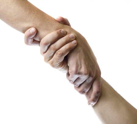 Concept of mutual assistance. Image of two hands on white isolated background. Фото со стока