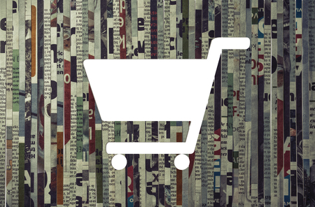 Icon of shopping cart cut from newspaper. Concept of purchase, business marketing, advertising.