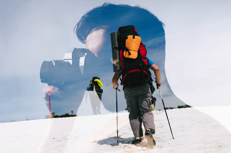 Image with double exposure. Man with camera and travelers with backpack. Metaphor of travel and memorable moment.