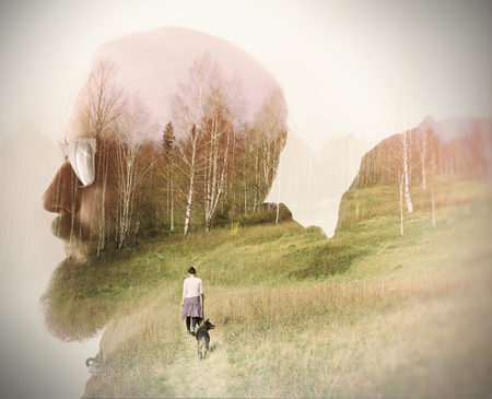 Double exposure with bearded traveler, forest and friends. Metaphor of travel and camping. Stockfoto