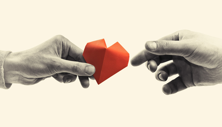Red heart in woman and man hands. Black and white image. Concept of love,  giving gifts, donorship. Stock Photo