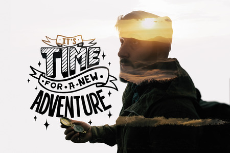 Double exposure mountain landscape with bearded traveler and lettering. Metaphor of travel.