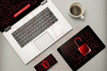 Cyber attack and virus detected concept. The laptop, smartphone and tablet under cyber attack, virus, malware. Image Stok Fotoğraf