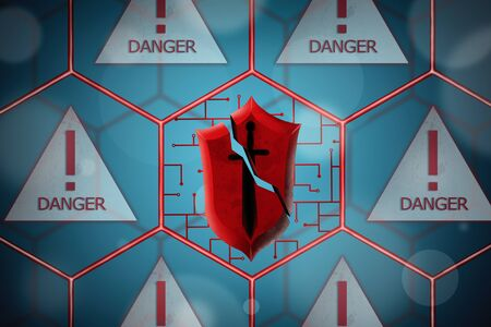 Concept of network security. Abstract background with broken shield in cell.